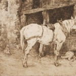Charles Collins, Horse, Dog and Hens in front of Barn