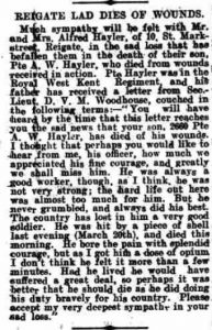 Arthur Hayler Death Notice 8th April 1916 Dorking Advertiser © Local World : Trinity Mirror