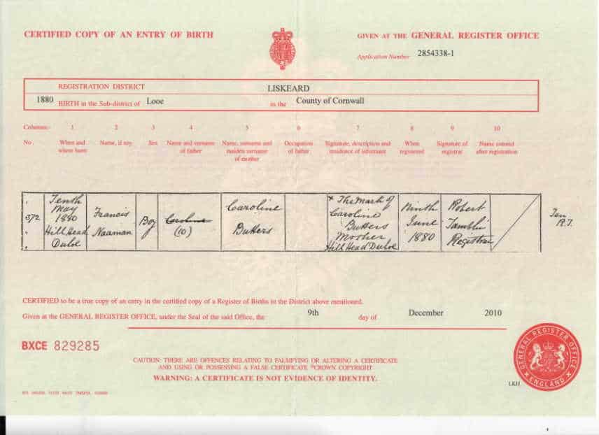 Francis Naham May Birth Certificate Ancestry Dorking