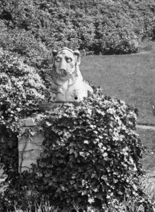 View of the gardens c.1930 showing the Deepdene Coade stone lion. (Detail) © Surrey History Centre
