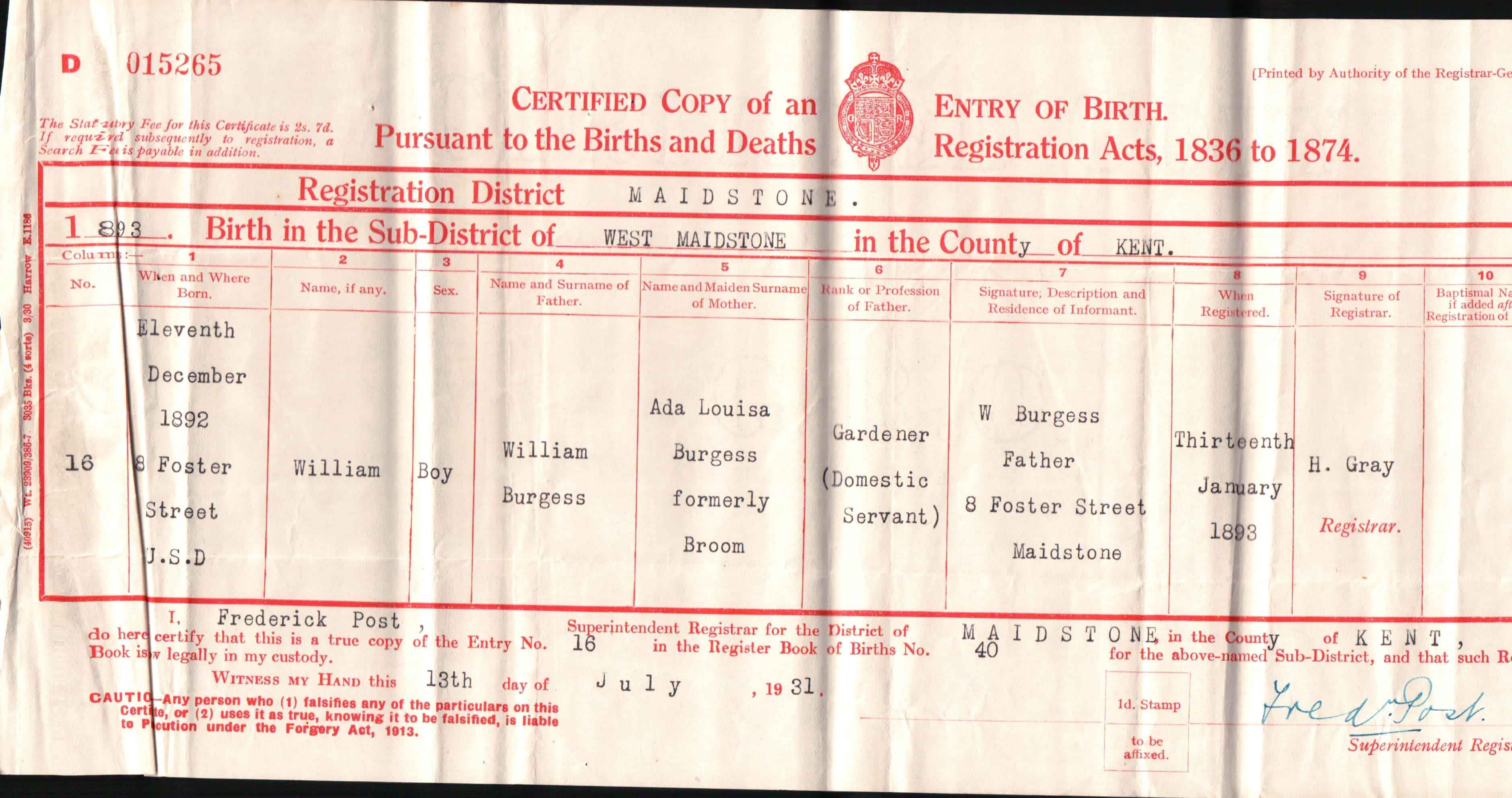 William burgess birth certificate jane stevens dorking museum william burgess birth certificate jane stevens xflitez Image collections